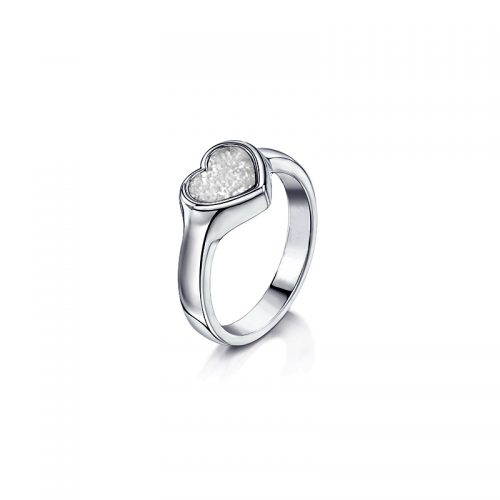 White Gold Ring with Clear Glass Heart
